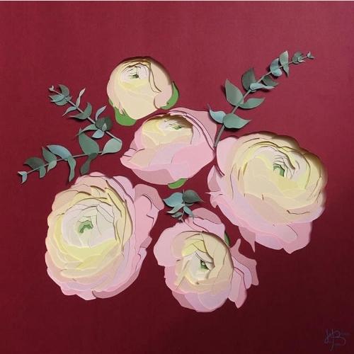 Rose découpée au kirigami - Heloise Bossard