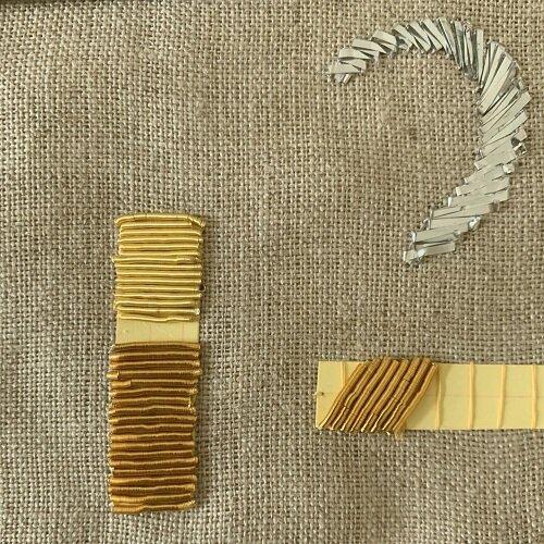 Pose de canetille sur bourrage carton