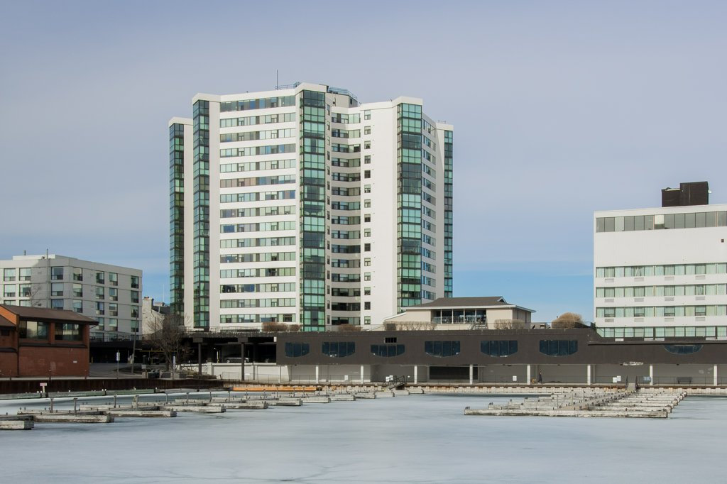 185 Ontario #704 - A bright condominium on the shores of Lake Ontario. Views of the city and the water. The best of both.Listed at $595,000.