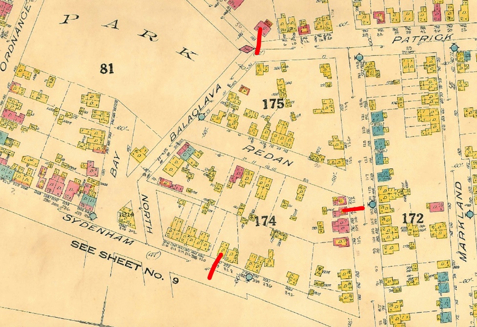 The Fire Insurance Map of 1924, with the properties roughly marked.