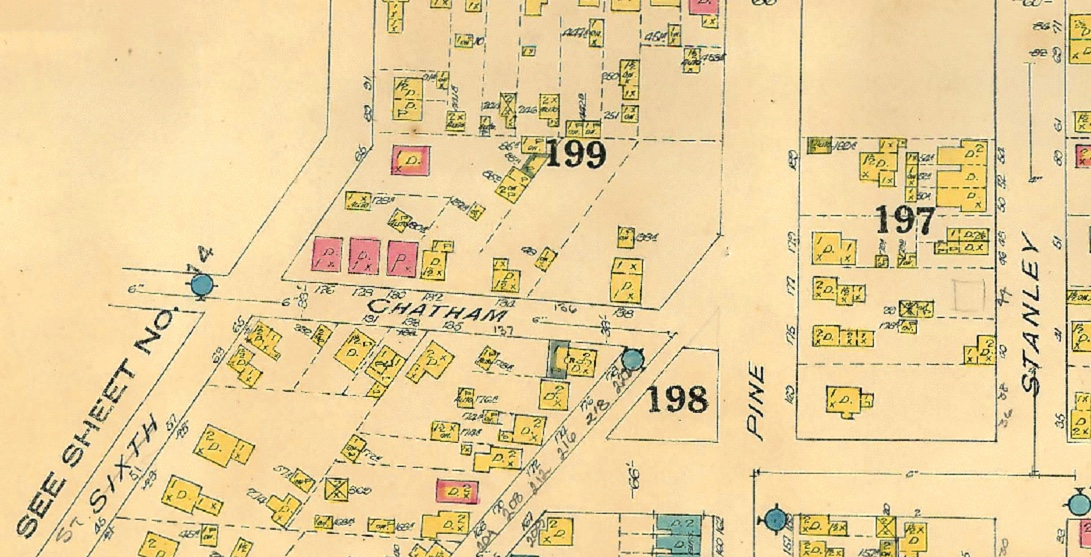 HERE's A SECTION OF THE 1924 FIRE INSURANCE MAp. no brick house exists at that location. (thanks to Marc Shaw and jen ross for the education)