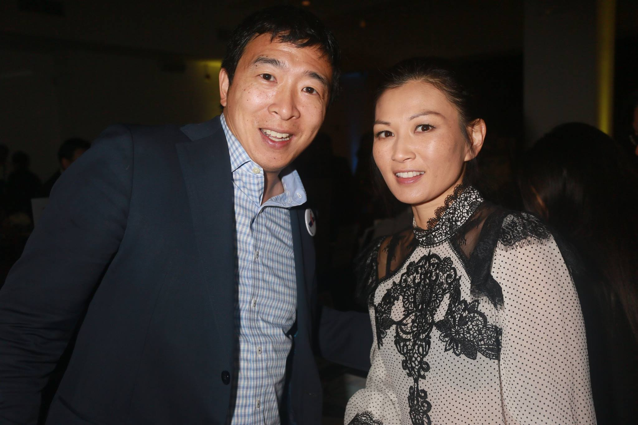 Presidential candidate Andrew Yang with Michelle Krusiec from Hawaii Five-0