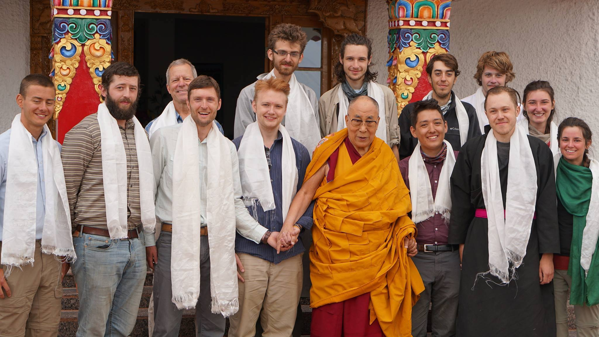 Institute for Village Studies students with the Dalai Lama in 2017
