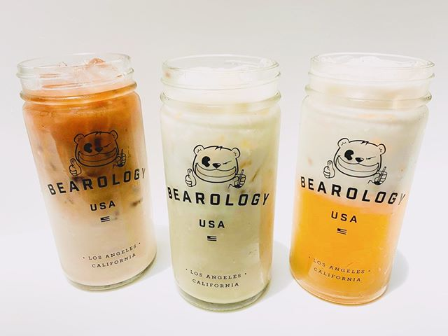 The Milk Trifecta—(Left to Right) #Coffee Milk Tea, #Matcha #Latte, and our Jasmine Green #MilkTea: Iced teas are refreshing and all, but milk in your tea reduces the teas' natural bitterness, creating a smoother and richer taste. ⁠ ✴︎⁠ If you received your #BOGO flyer from this past weekend's #lafoodfest, STOP BY #BEAROLOGY TO REDEEM IT! Can't get a free drink if the flyer's just sitting on your table. 😜