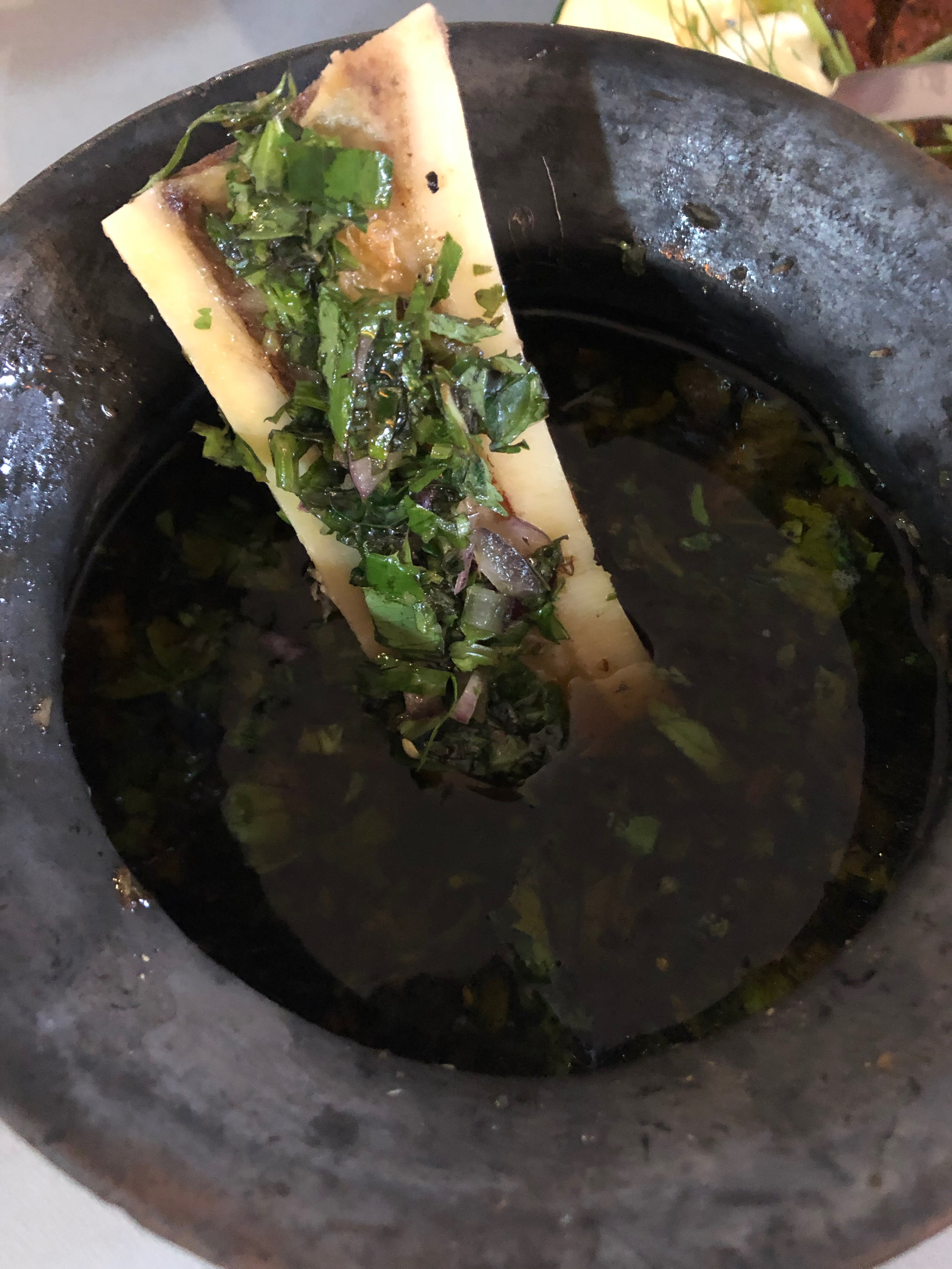 Tiyula itum with papd chimichurri