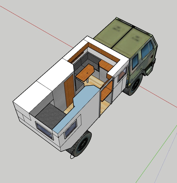 this is sketch that we have done showing our rough plans for how we build out the living space in our box.
