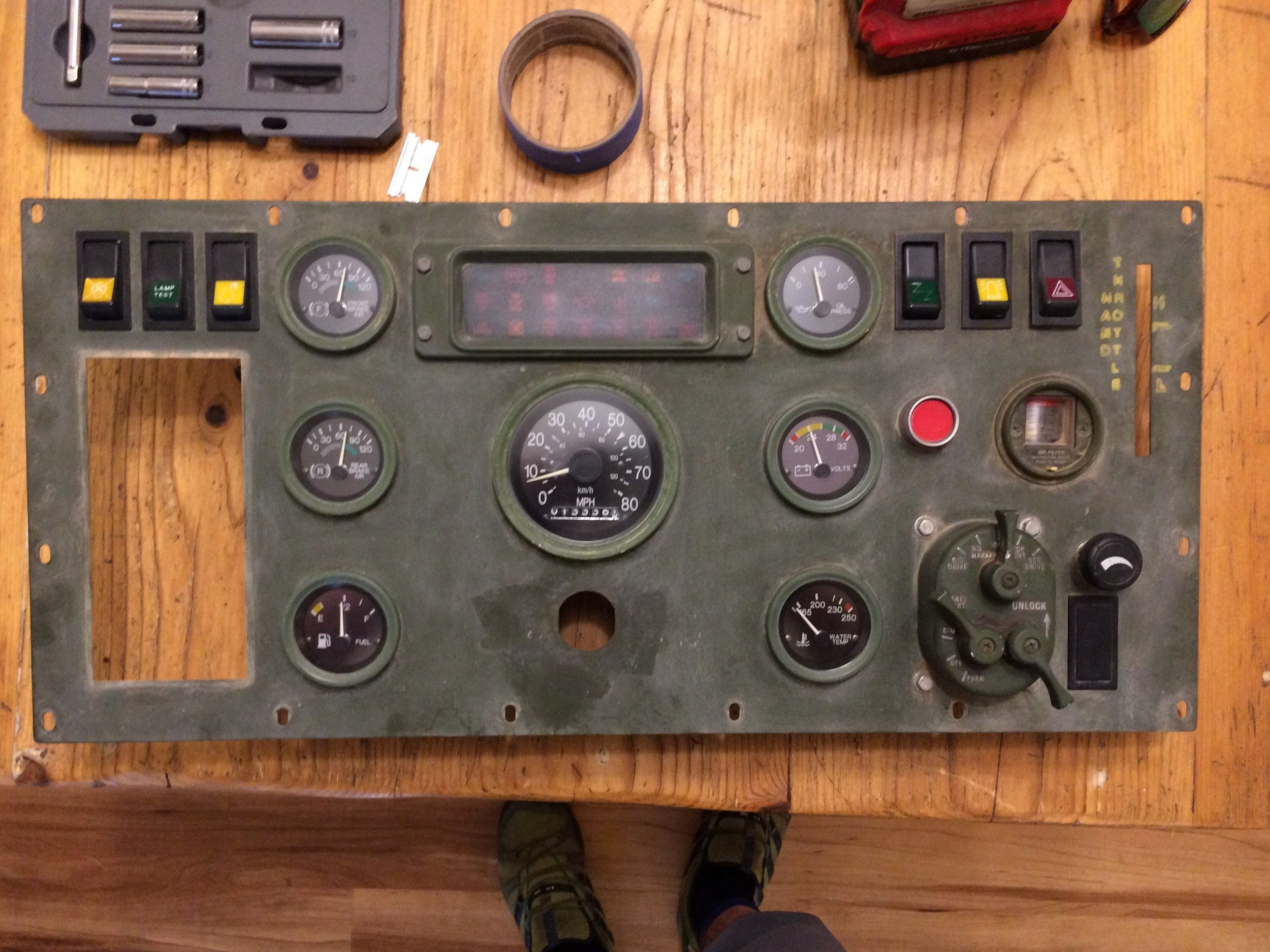 Old nasty olive green dash panel looking very military and ready for an upgrade.