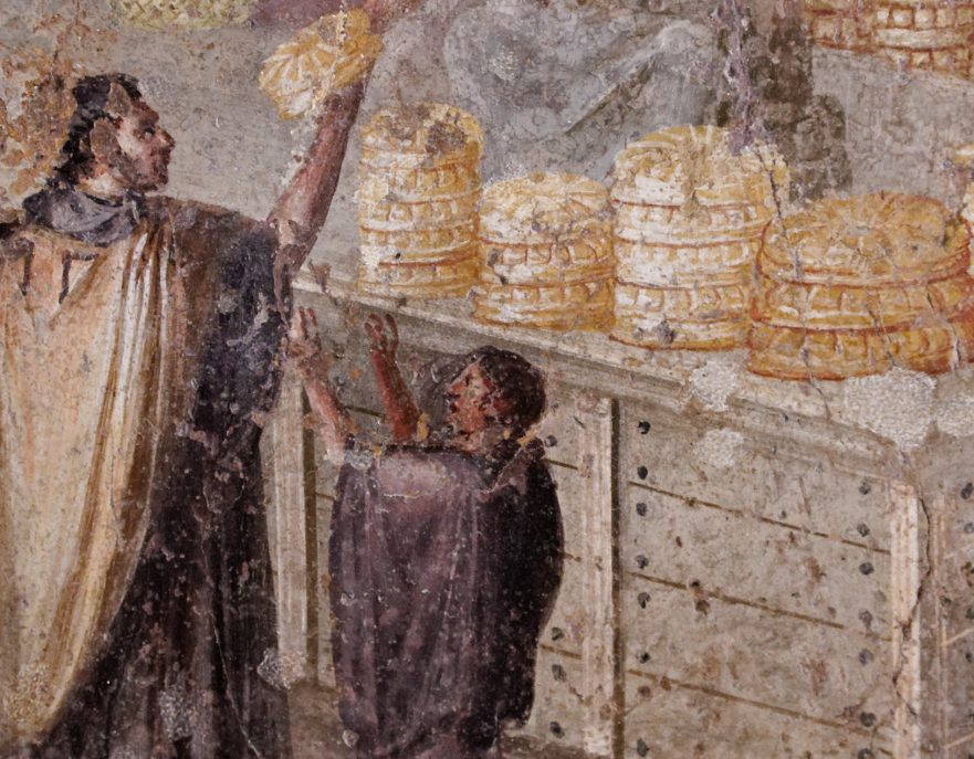 First-century C.E. fresco from Pompeii (a youth asks a man for bread at a bread seller's booth).