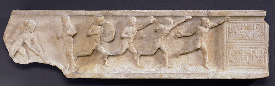"""A Roman coffin lid showing athletes running to the right with their arms outstretched while the man on the left prepares the soil for the pentathlon. In 1 Corinthians 9:27 Paul writes, """"I discipline my body and bring it under strict control, so that after preaching to others, I myself will not be disqualified."""""""