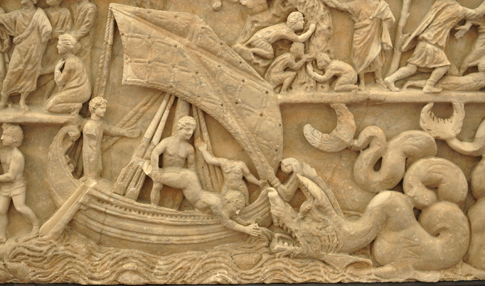 "Jonah Sarcophagus, 3rd century —notice the chaotic waters. Matthew 12:40 says, ""For just as Jonah was three days and three nights in the belly of the great fish, so will the Son of Man be three days and three nights in the heart of the earth."""