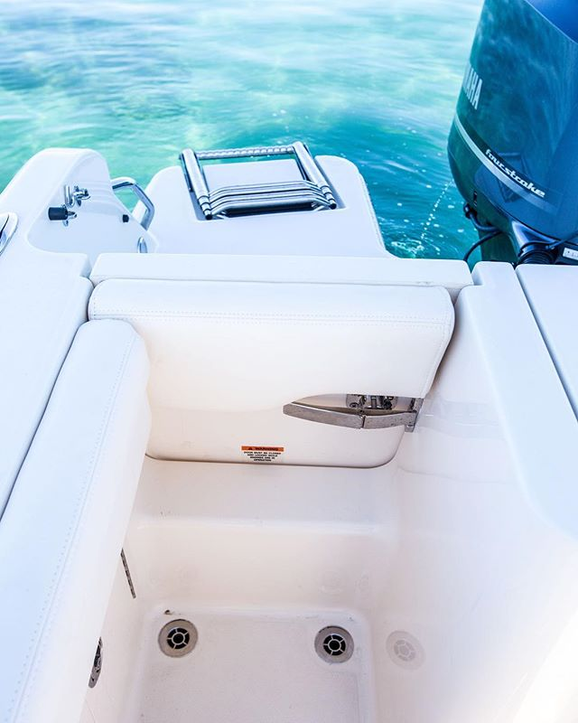 This picture is of the transom door leading out to the swim platform on the 235 Freedom & 236 Fisherman.  It is a great showing of the build quality you can expect from Grady-White; whether it's an 18 or 45 footer.  The solid fiberglass door, the oversize stainless latches, hinges & handles, the flush mounted deck drains, the padded combing/cushion wrapping all the way around to the transom door, the 4-step boarding ladder and the water tight inward closing door.  May only seem like small things, but it's this exceptional attention to detail you get throughout the whole boat.  No corners are cut. You won't find this level of detail or build quality on another brand - look for yourself. @gradywhite_boats
