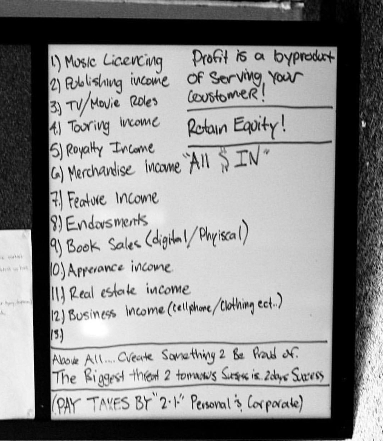 A picture of Nipsey Hussle's whiteboard.