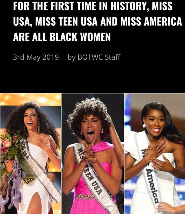 YAAAASSSS QUEENS! Shoutout to these women making history with their crowns 👑👑👑 . MISS USA: @chesliekryst is a civil litigation attorney who received her law degree and MBA from Wake Forest University. . MISS TEEN USA: @kalieghgarris is still in high school but plans to attendSouthern Connecticut State University's nursing program as she plans to become a trauma nurse in the future. . MISS AMERICA: @niaimanifranklin holds a master's degree in music composition from UNC School of the Arts. She is an opera singer and an advocate for arts advocacy. . 📸 courtesy of: @becauseofthem