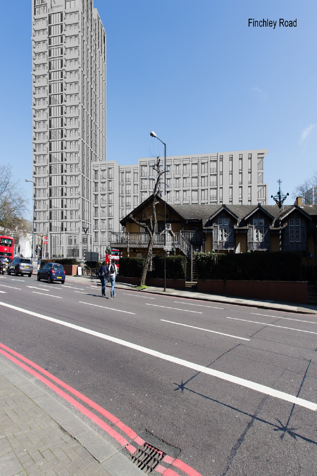 3D model dropped into the photograph - Swiss Cottage London