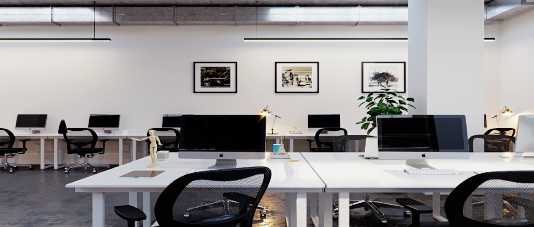 Coworking Space - Cool trendy offices, exposed ceilings, greay furniture