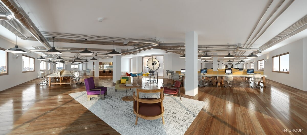 Panoramic CGI Rendering of a Coworking Space Office