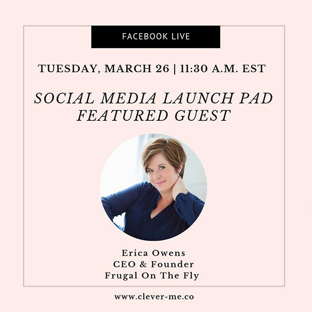 Join @clevermeco and @glowsocial for a Facebook Live Q&A chat with @frugalonthefly Tuesday, March 26 at 11:30 a.m. EST. We're talking about all things digital marketing, social media best practices to grow your business and much more! ⠀ ⠀ You must enroll in Social Media Launch Pad 7-Day Email Course to get invited to participate. ⠀ ⠀ Click the link in our bio to sign up for Social Media Launch Pad 7-Day Email Course today. ⠀ ⠀ ⠀ ⠀ #CleverMe #SMLP #Business #Solopreneurs #SmallBusiness #SmallBusinessOwners #Marketing #Entrpreneurship #Business #SmallBiz #Startup #SocialMedia #DigitalMarketing