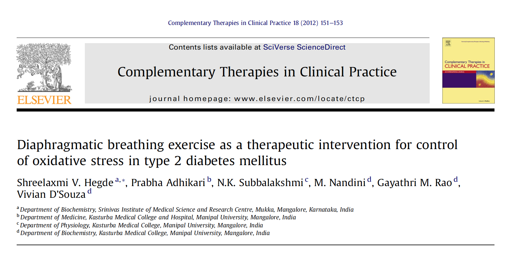 - Diaphragmatic breathing exercise as a therapeutic intervention for control of oxidative stress in type 2 diabetes mellitus