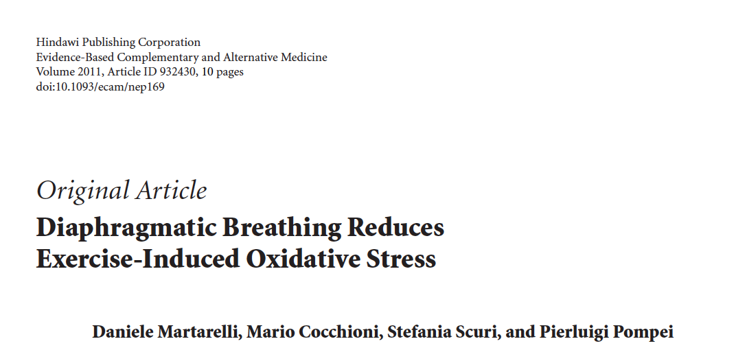 - Diaphragmatic breathing reduces oxidative stress in athletes after exhaustive exercise