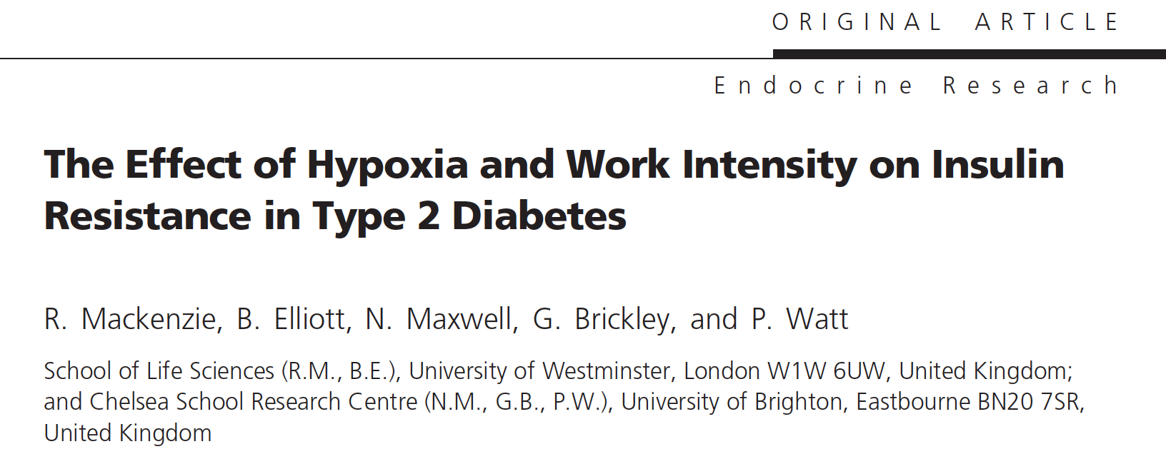- Moderate exercise in hypoxia improves insulin sensitivity in type 2 diabetics