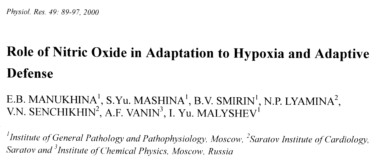 - The protective role of nitric oxide during adaptation to hypoxia