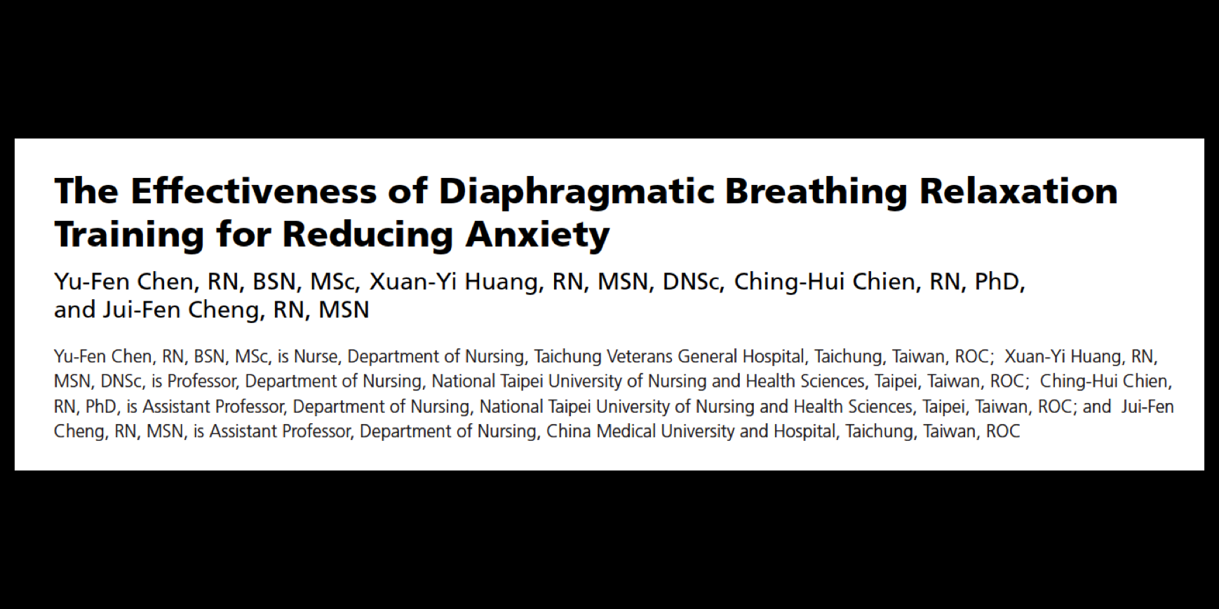 - Diaphragmatic breathing improves subjective and physiological indicators of anxiety