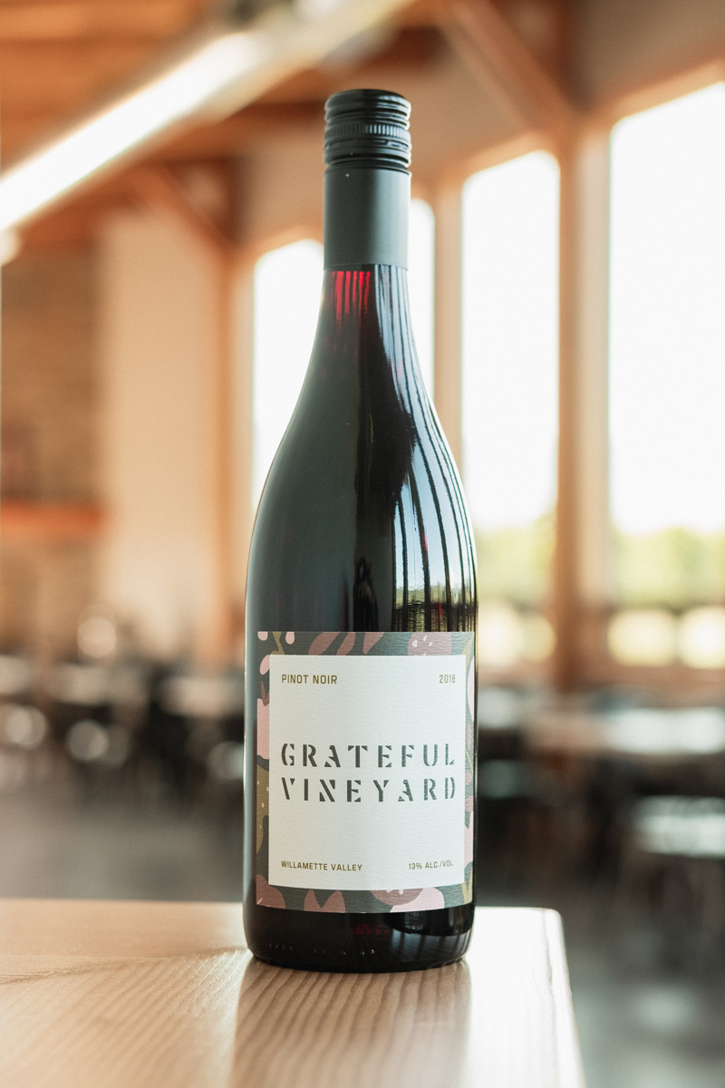 18' Pinot Noir - Grateful Vineyard wine is crafted with care in the Northern Willamette Valley. This pinot is silky, perfectly balanced with intense red cherry fruit flavors. A pinot lovers delight.
