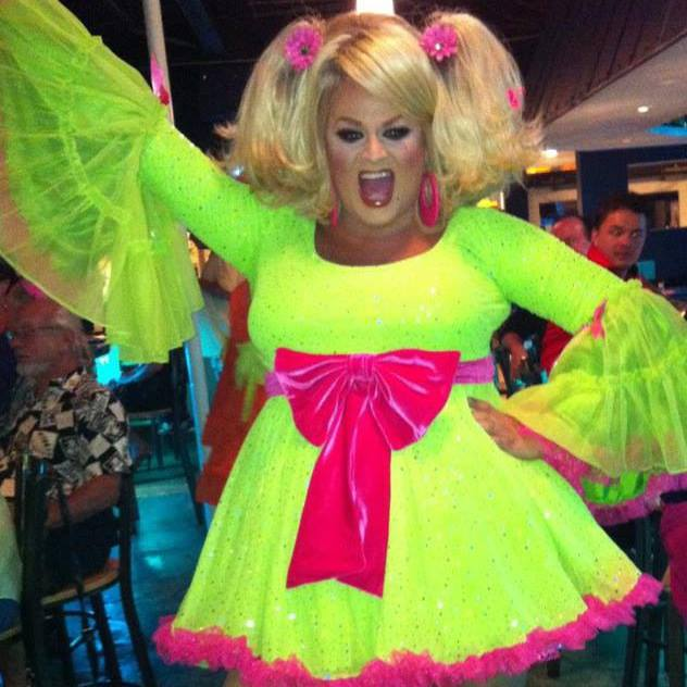 Inga in Neon Dress and Pink Bow