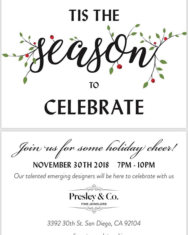Looking forward to celebrating the holiday season @liz_presleyandcofinejewelers today! Please come by if you are in the area! #sandiego #northparksd #womensupportingwomen #shopsmall #holidayjewelry #jewelrydesigner #beautyrecognized #leileejewels