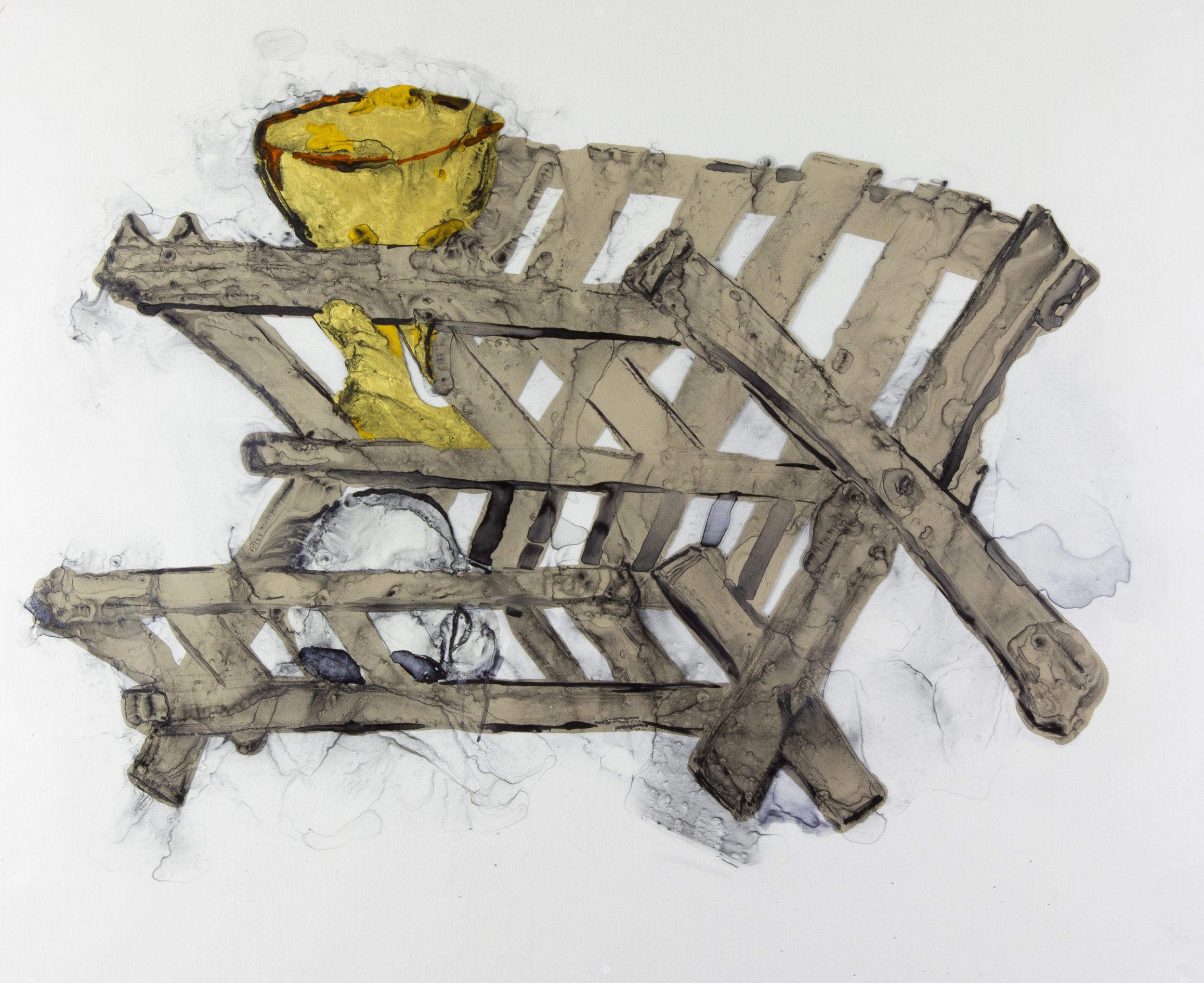 Holy Grail Drying Rack, 2018, 30x25 inches, watercolor and acrylic on transparent mylar