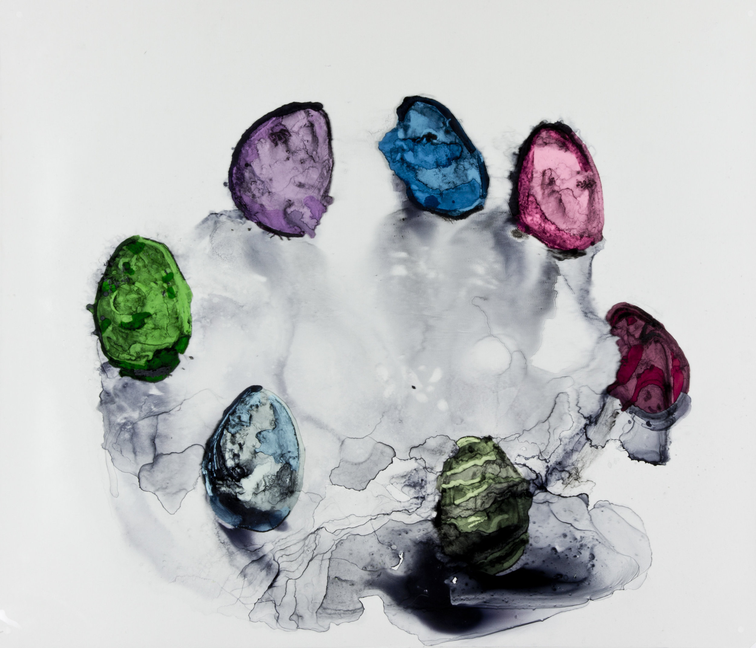 Eggs, 2017, 30x25 inches, Watercolor and acrylic on transparent mylar