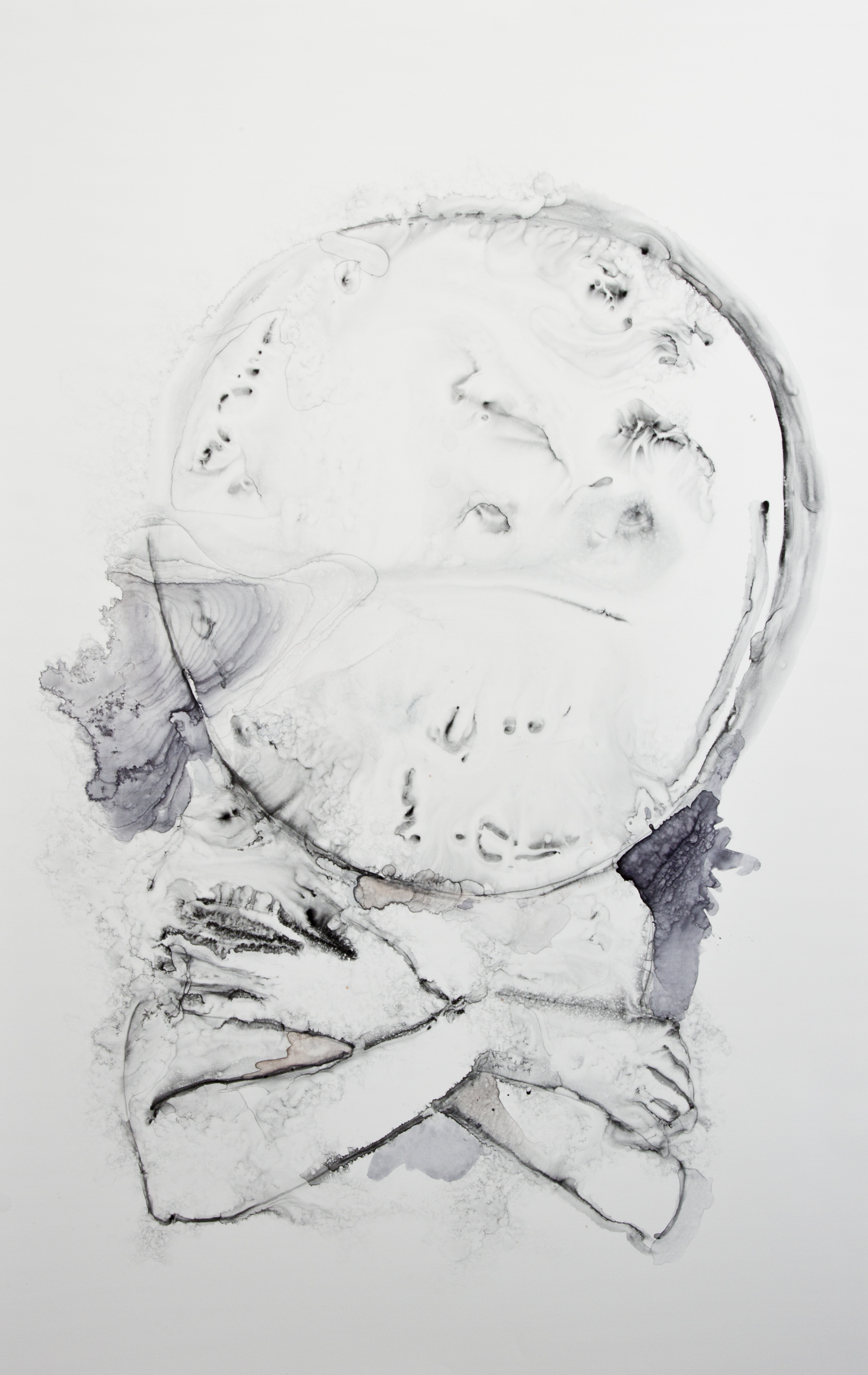 Crossing The Moon, 2016, watercolor on polypropylene, 40x26 inches