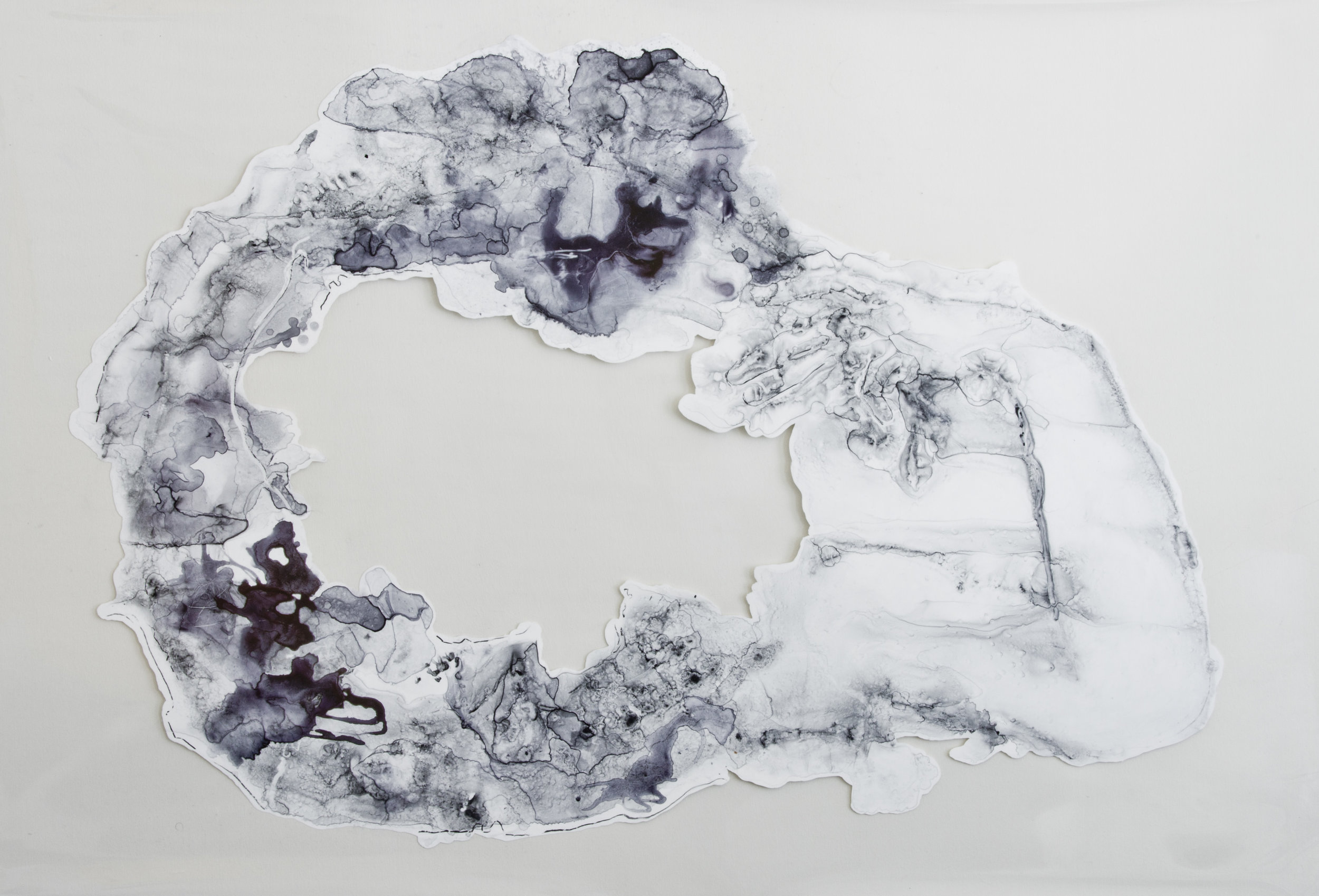 Fluid, Soft and Yielding,  2016, watercolor and acrylic on transparent mylar, 50x35 inches