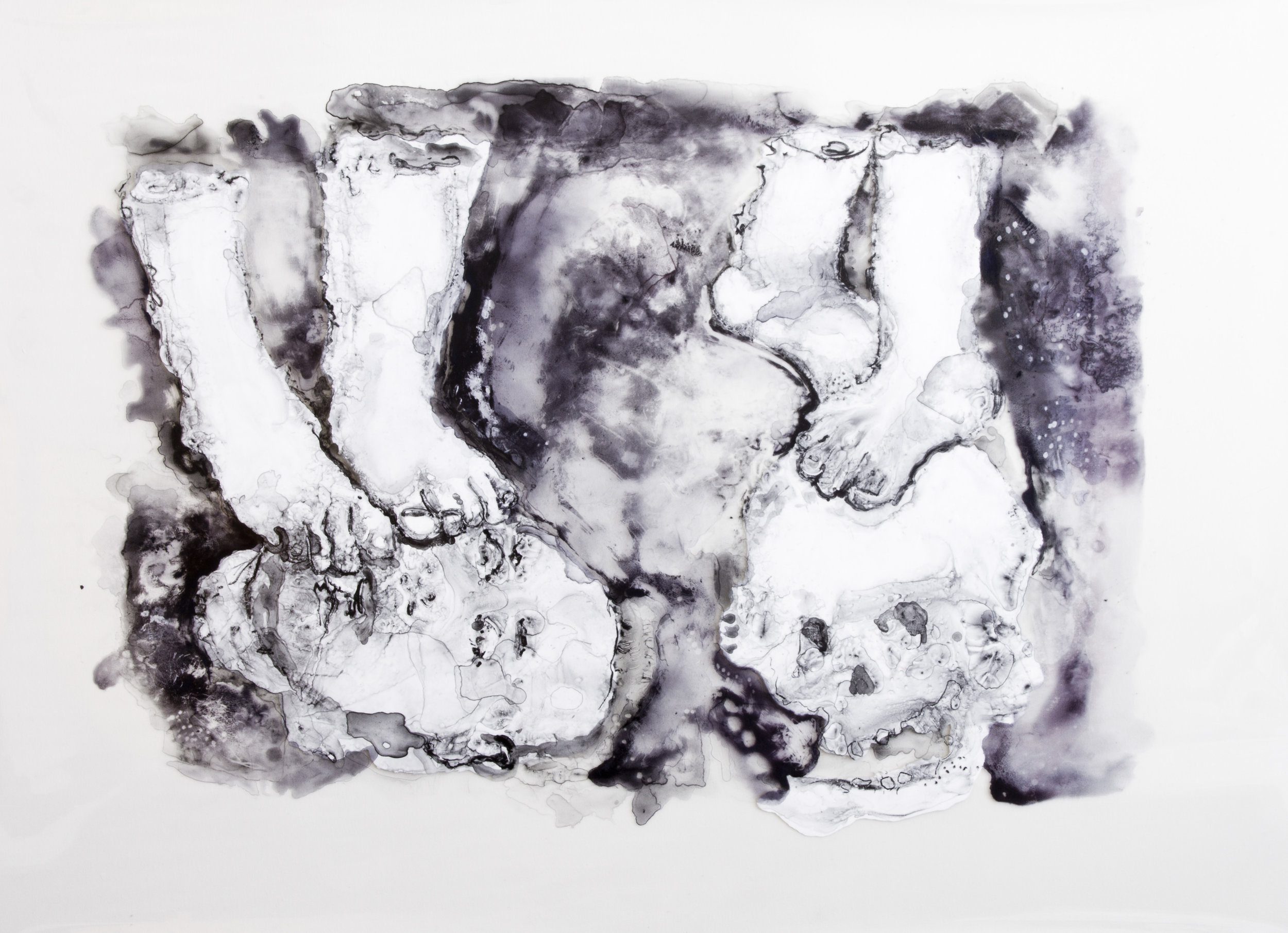 It Marks Them, 2016, watercolor and acrylic on transparent mylar, 50x35 inches