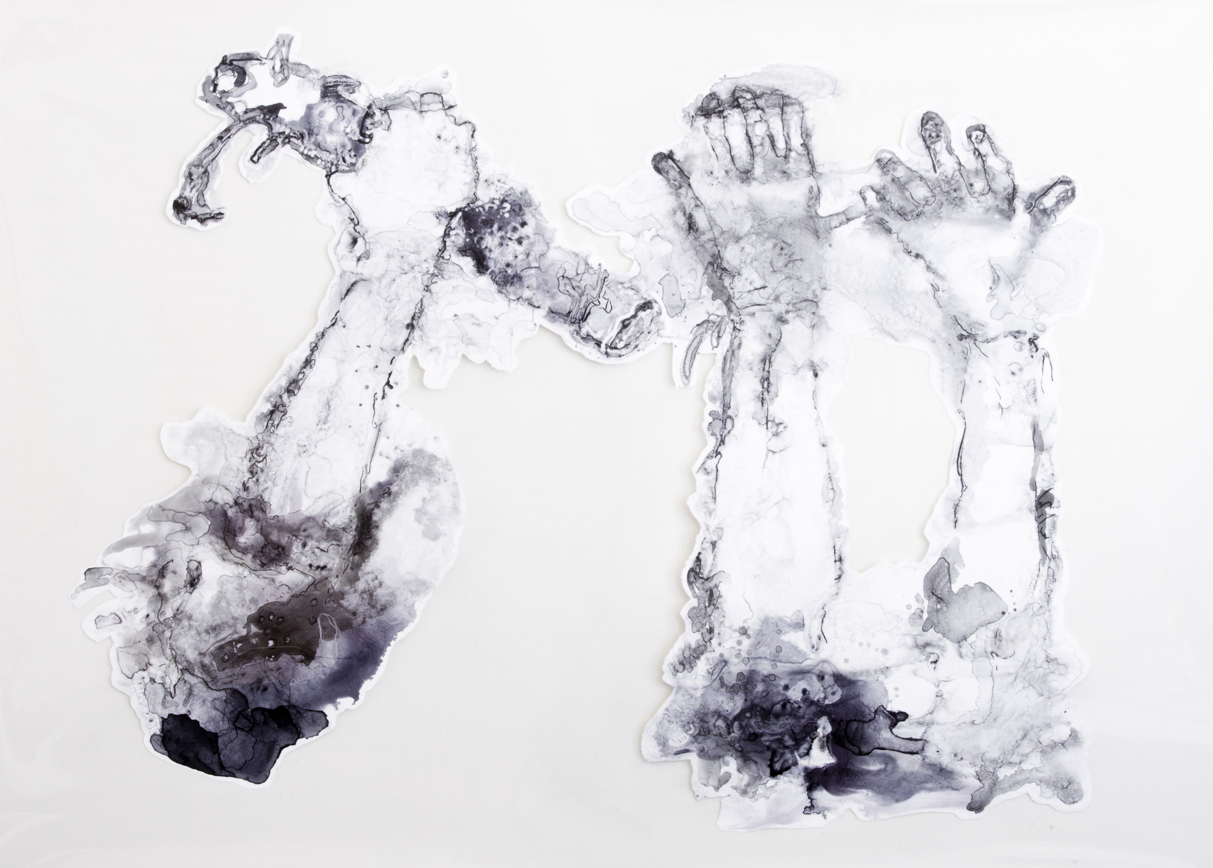 Spirit Stick, 2016, watercolor and acrylic on transparent mylar, 50x35 inches