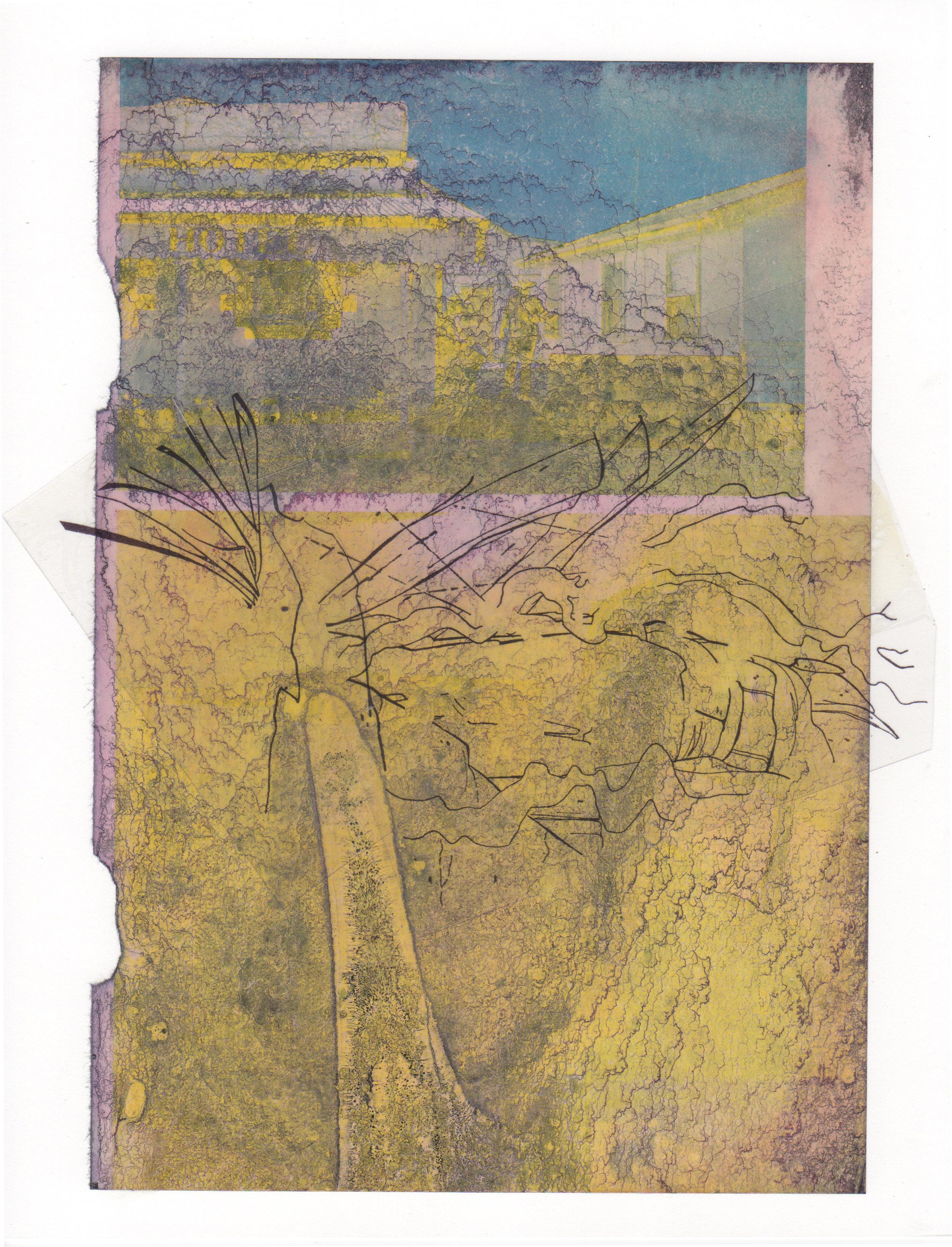 Folding Landscape 2015 acrylic mylar archival ink and paper 8 5 x 11