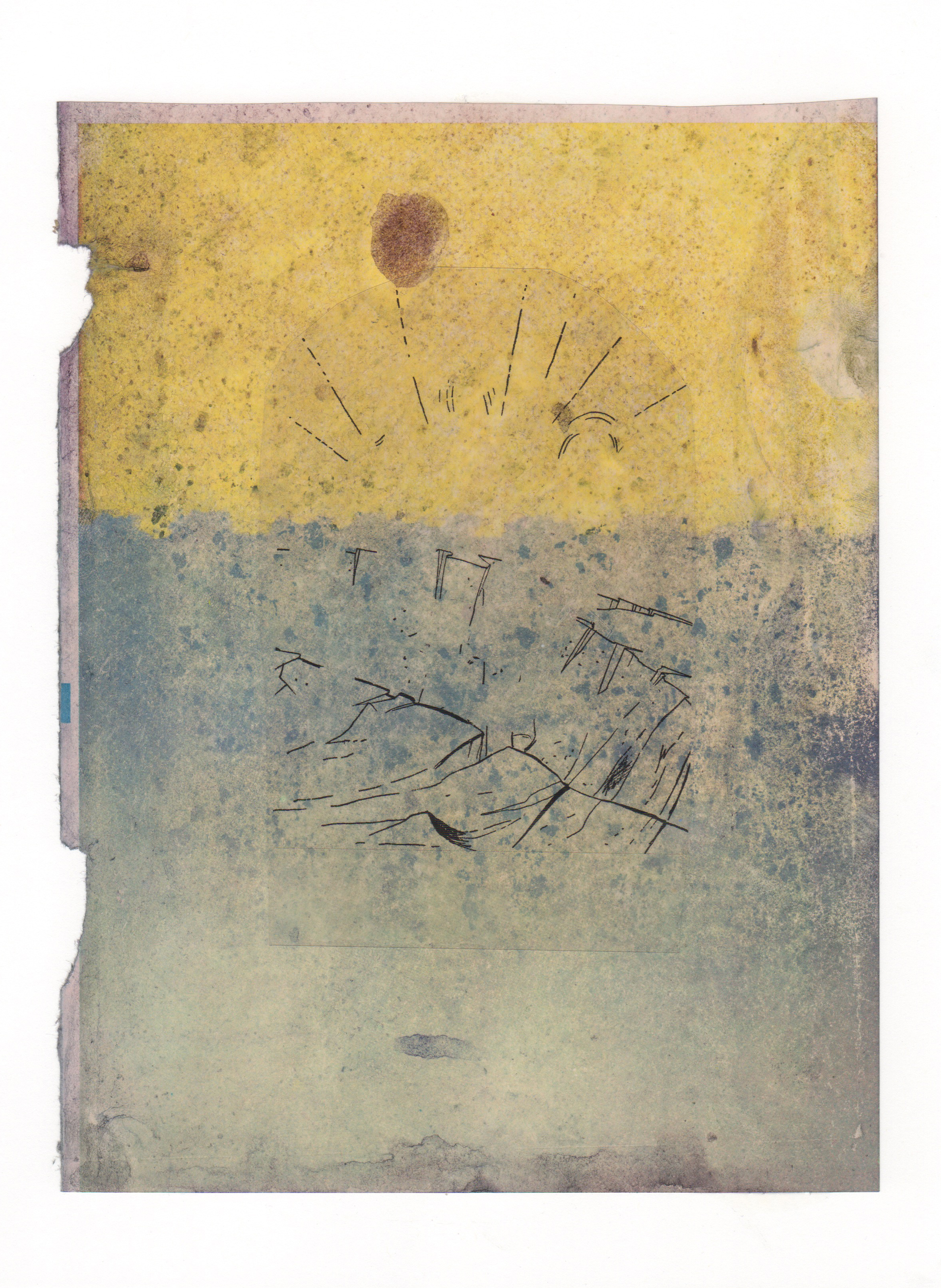 Trenches 2015 acrylic mylar archival ink and paper 8 5 x 11