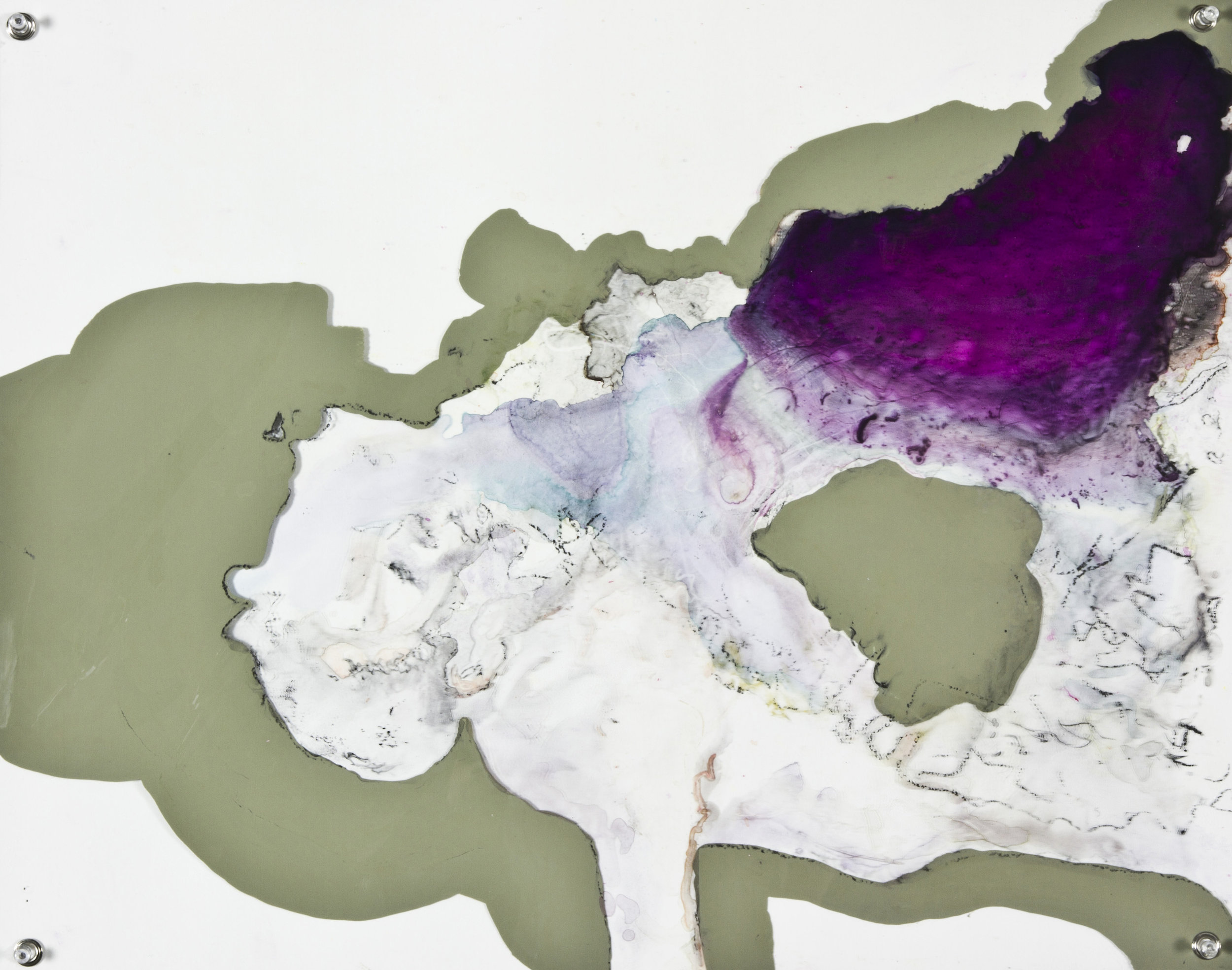 A Single Mouthful of Air, 2014, watercolor and acrylic on grommeted mylar, 18x24 inches