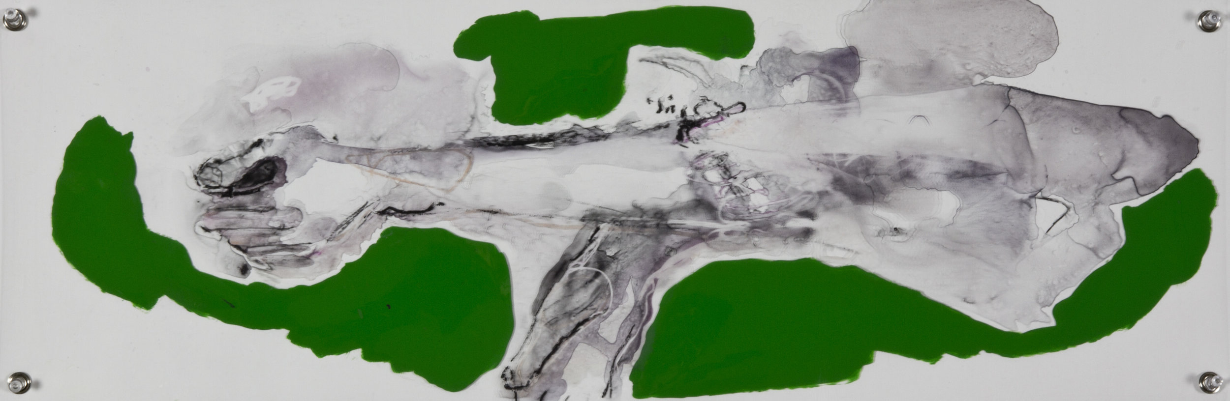 Across The Green, 2014, watercolor and acrylic on grommeted mylar, 10x30 inches