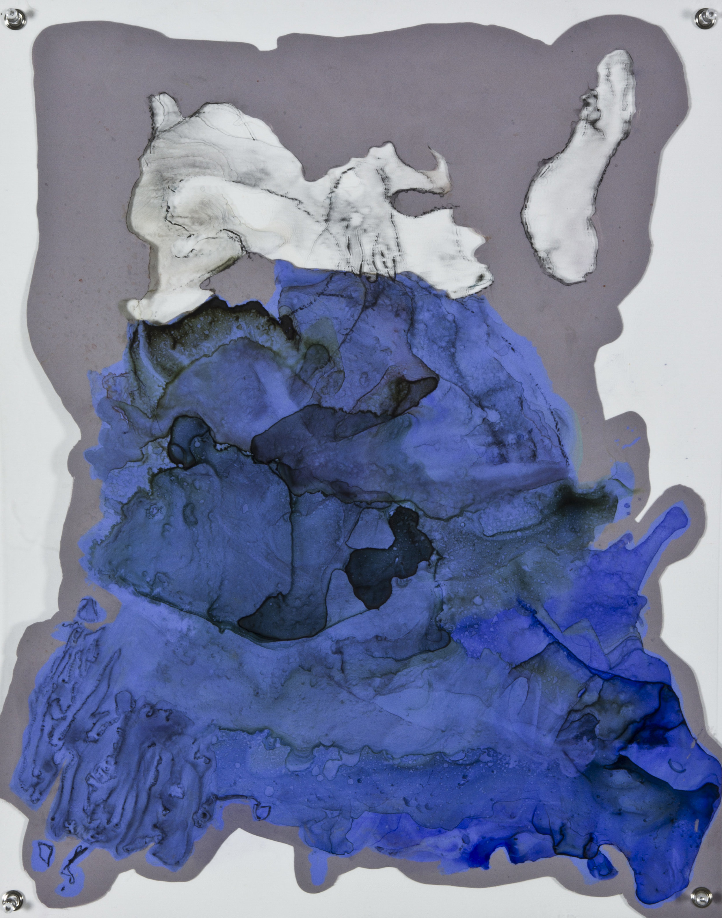 Dismantled Almosts, 2014, watercolor and acrylic on grommeted mylar, 18x24 inches