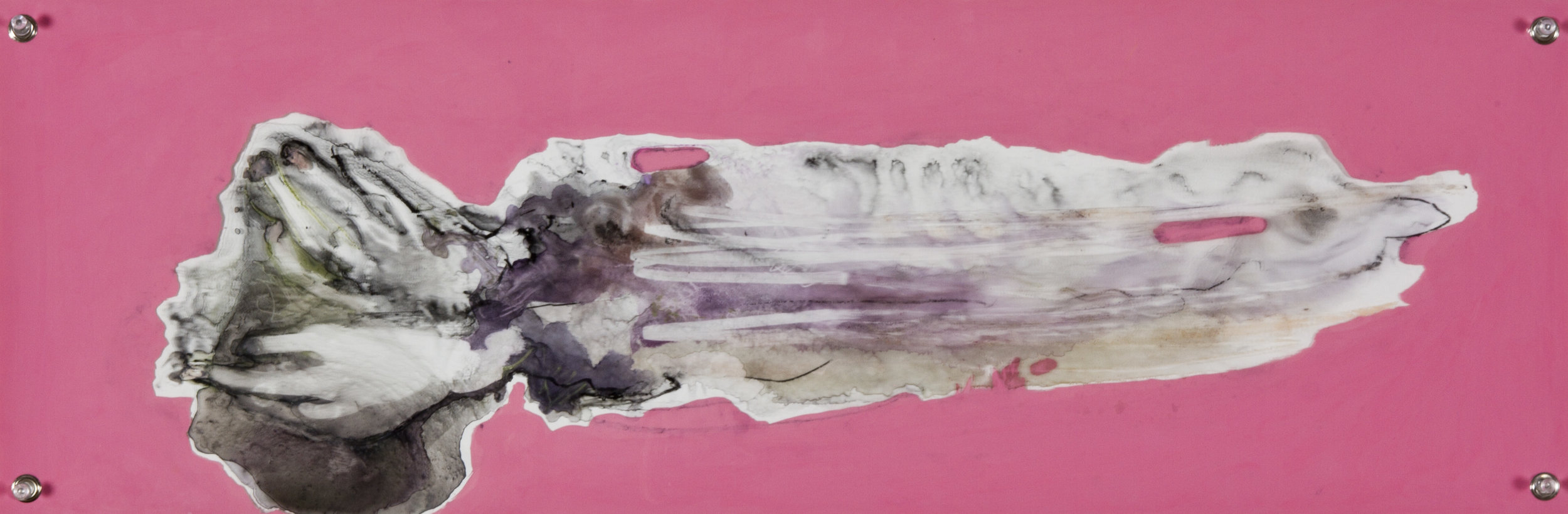 Vanished Structures, 2014, watercolor and acrylic on grommeted mylar, 10x30 inches