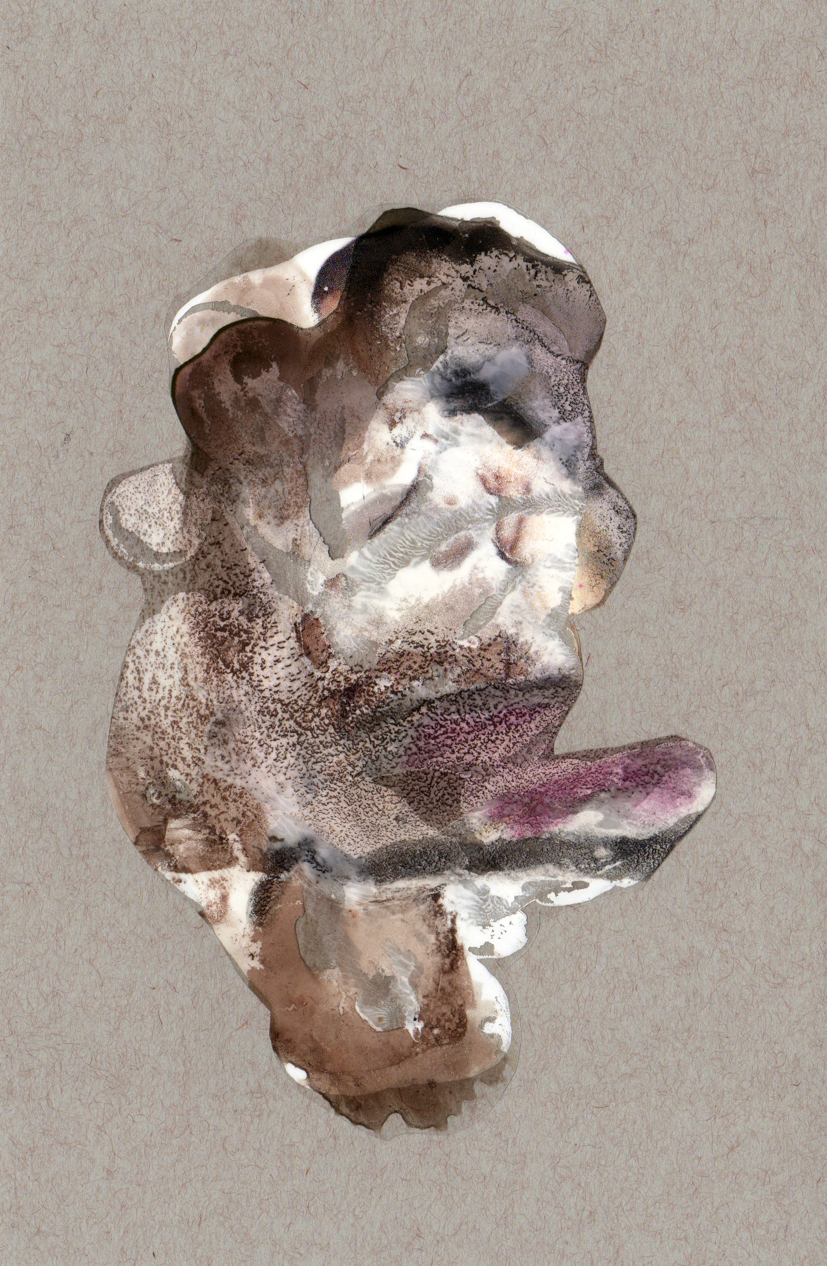 Above and Below, 2014, paint transparency archival ink and paper, 8.5x5.5 inches