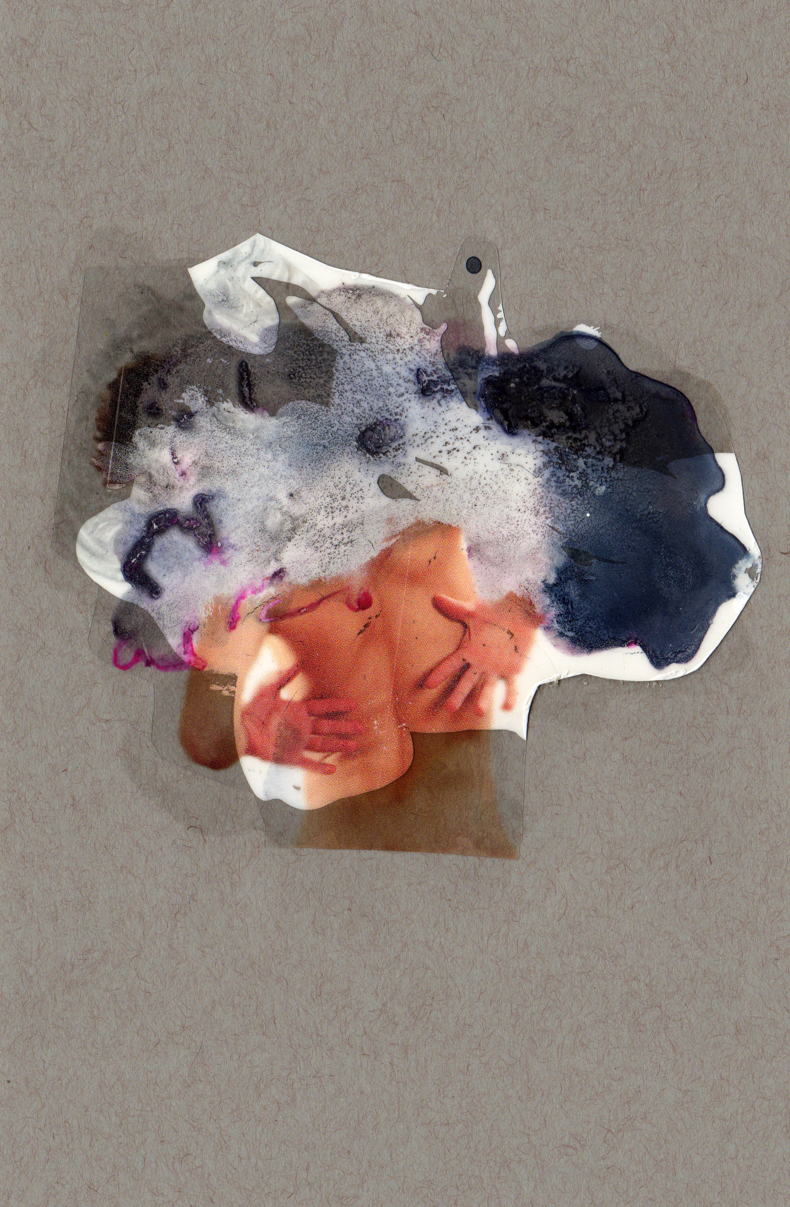 Attached the Form, 2014, paint transparency archival ink and paper, 8.5x5.5 inches