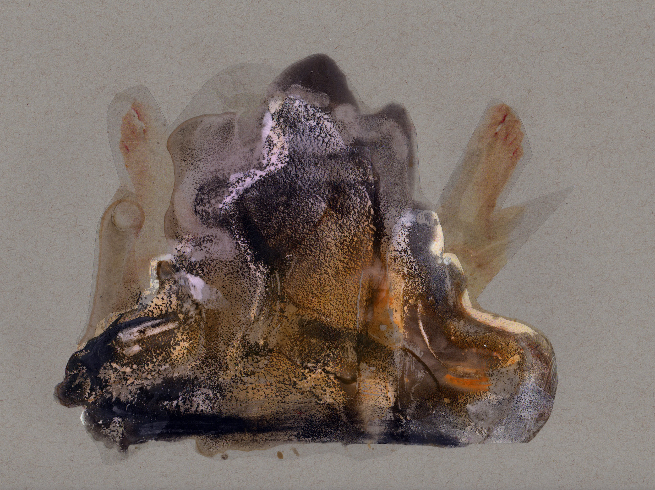 Beyond Understanding, 2014, paint transparency archival ink and paper, 9x12 inches