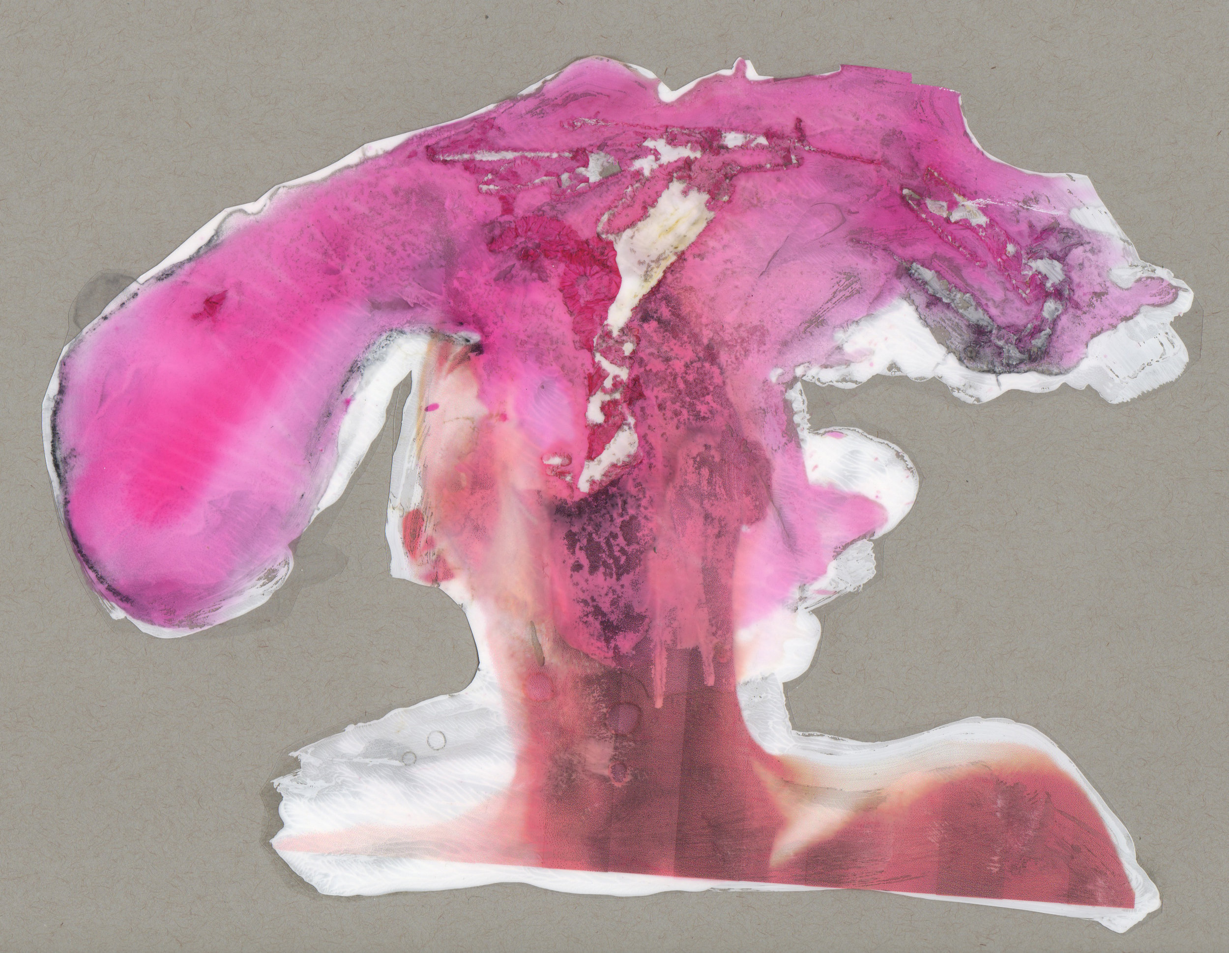 For Nancy, 2014, paint transparency archival ink and paper, 9x12 inches