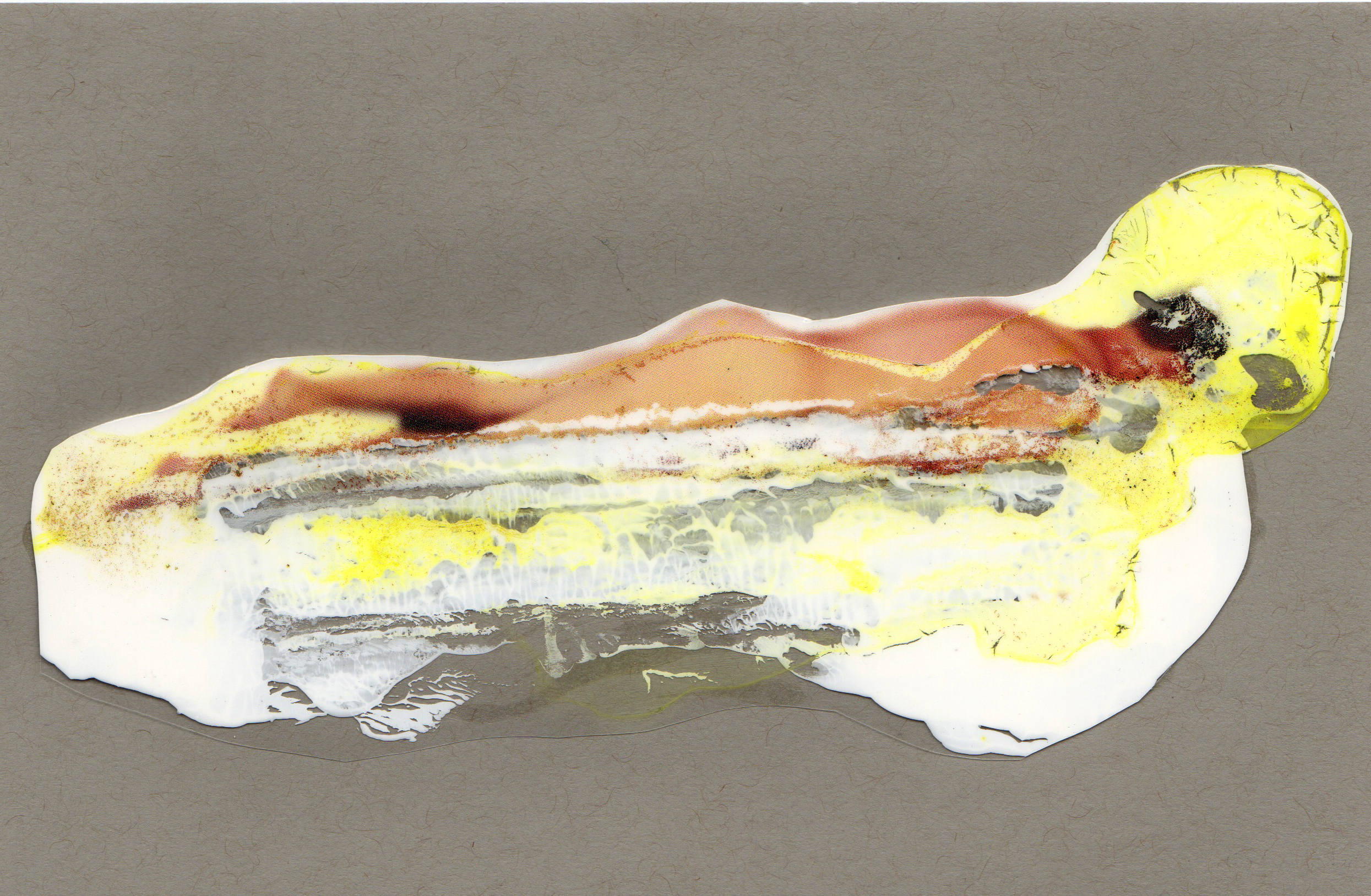 In The Memory River, 2014, paint transparency archival ink and paper, 8.5x5.5 inches