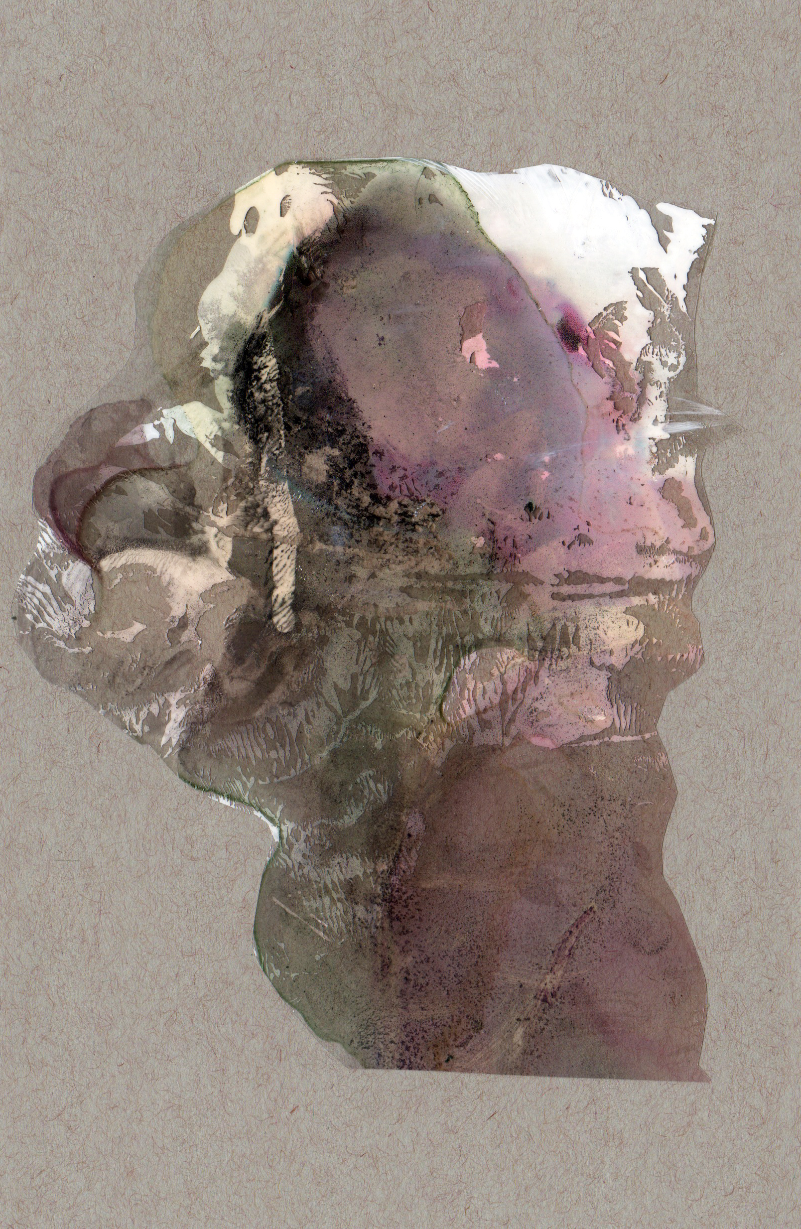 Narrow Escape, 2014, paint transparency archival ink and paper, 8.5x5.5 inches