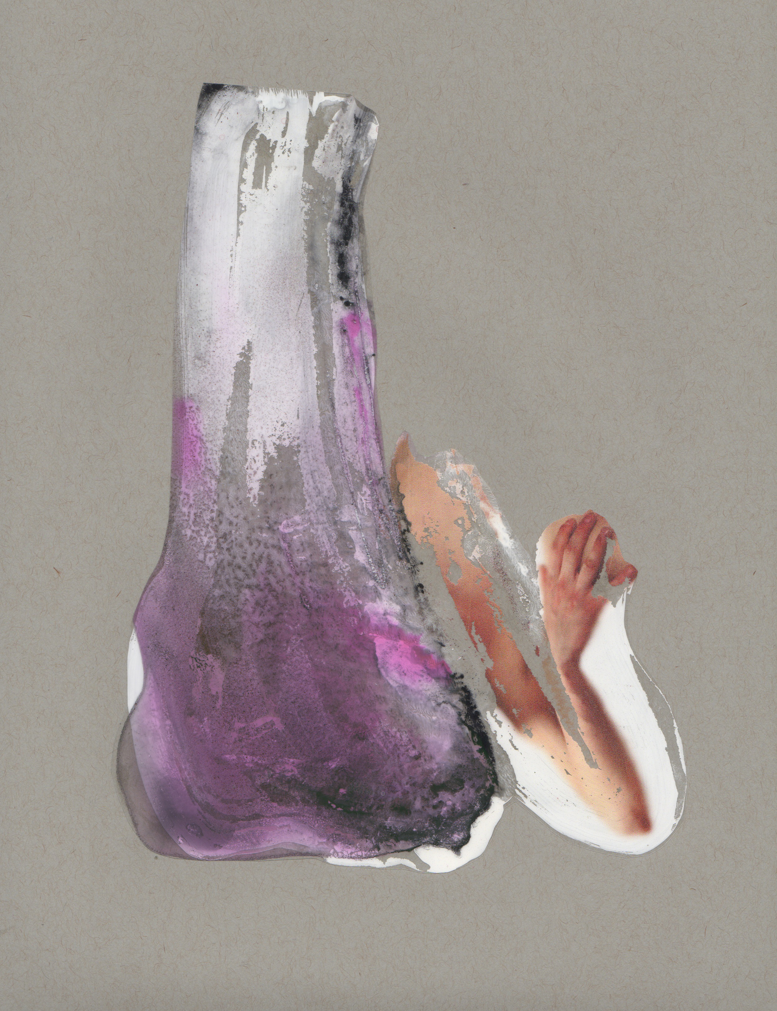 Other-side of the Glass, 2014, paint transparency archival ink and paper, 9x12 inches