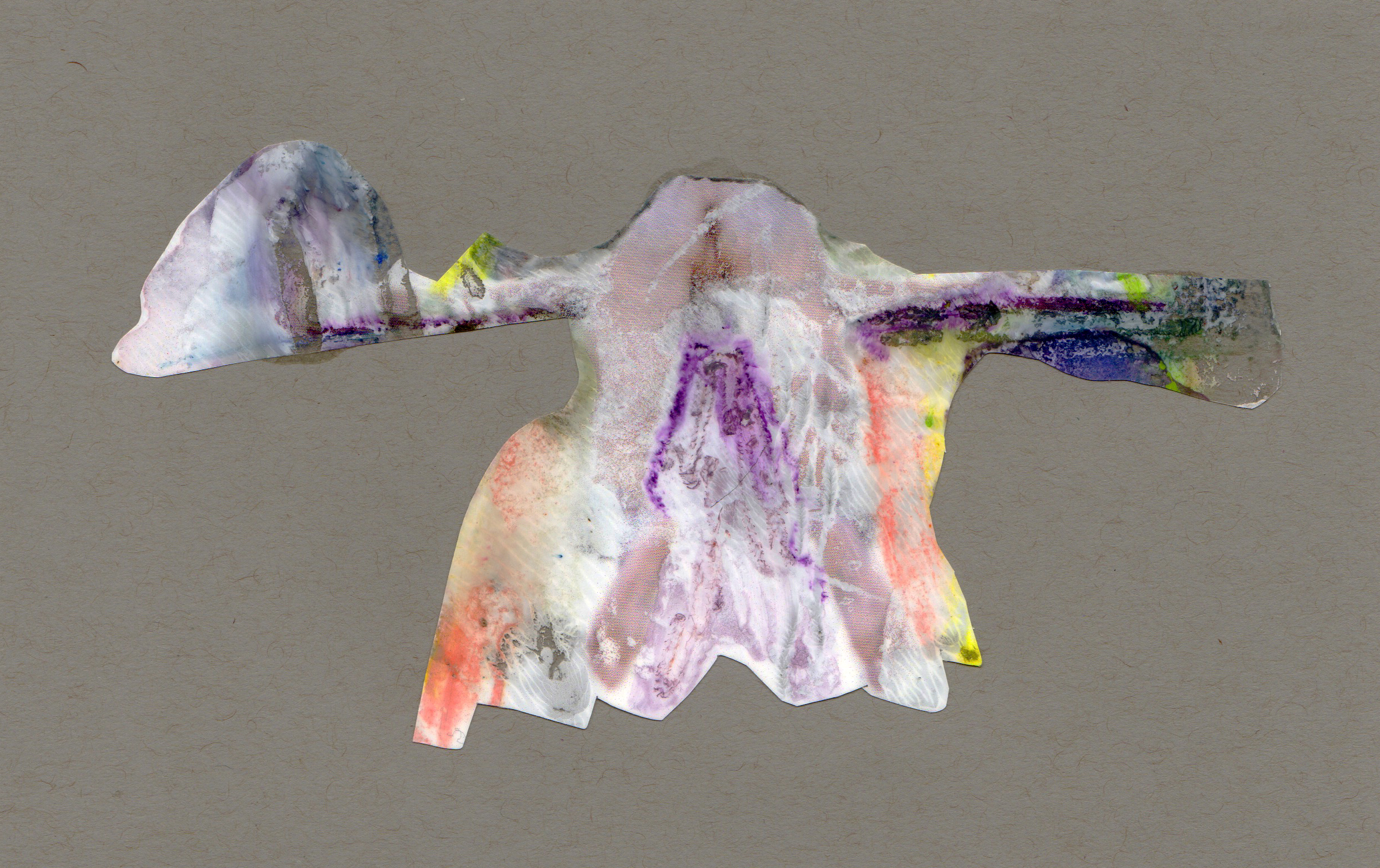 Pipe Dream, 2014, paint transparency archival ink and paper, 8.5x5.5 inches