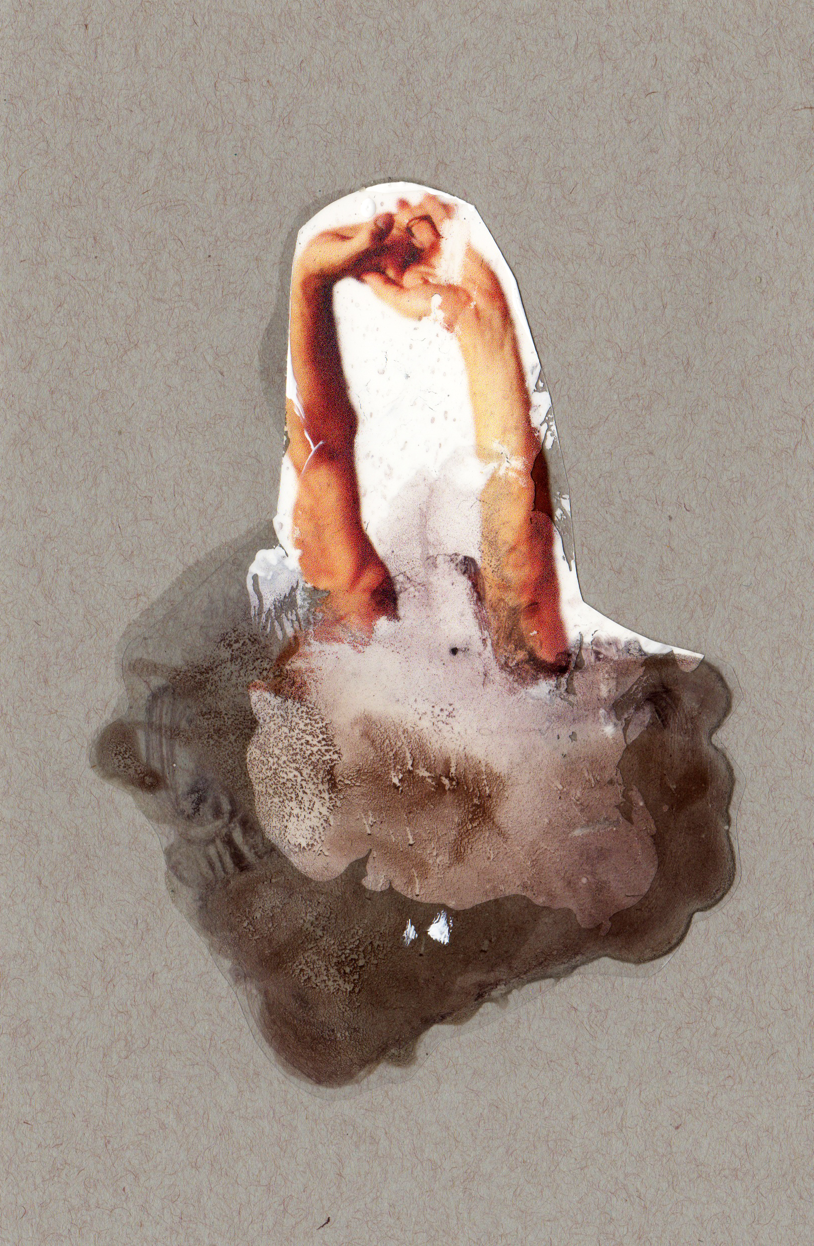 Prodigal Son, 2014, paint transparency archival ink and paper, 8.5x5.5 inches